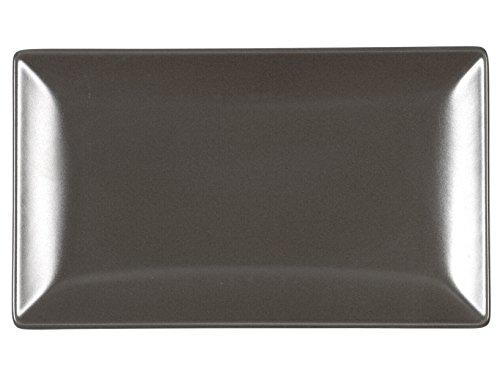 H+H Boston Set aus 6 rechteckigen Tellern, Steingut, Braun, 25x15 cm