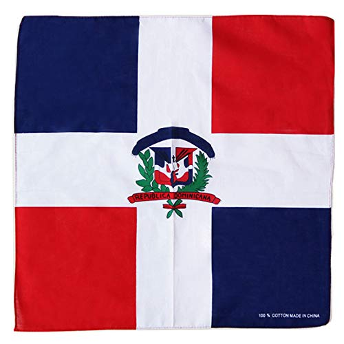 Single Pack Country Flag Bandanas Face Mask Scarf Cotton Flag Banner Headband Accessories By Fair Deal America. (12 PC, DOMINICAN REPUBLIC)