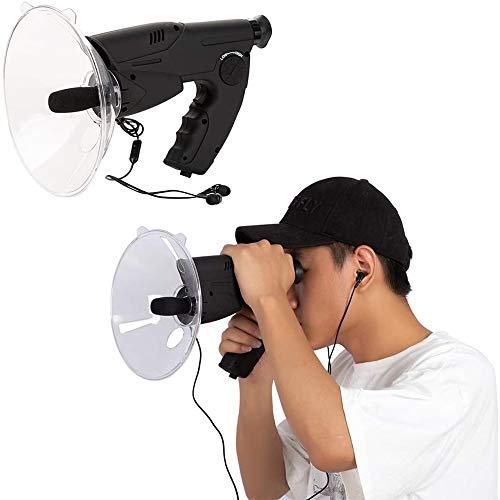 ロングレンジのリスニング用デバイス、バイオニック耳長距離鳥リスニングリスニングスパイ耳バイオニック、パラボリックマイク単眼望遠鏡W/ヘッドフォン、