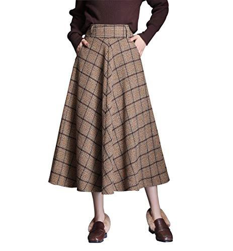 Damen Elegant Kariertes Lange Rock Frauen Vintage Wollrock Mode hohe Taille Warm Retro Maxi Winterrock Herbst Regenschirm röcke (XXL (Taille: 80 cm), Khaki)