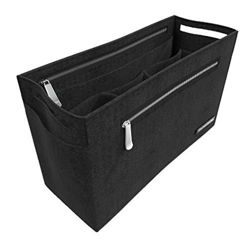"""Sternenfunke Hand-Taschenorganizer 30 cm groß aus Filz in schwarz mit 2 Reißverschluß-Fächern """"Bag in The Bag"""" (30 cm, groß)"""