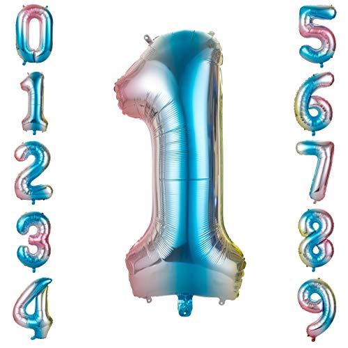 GWHOLE Globos Número 1, Globo Multicolor Mezclado de Azul Amarillo Rosa Globo Grande de Aluminio 1 2 3 4 5 6 7 8 9, Globos para Fiestas de Cumpleaños, Aniversario