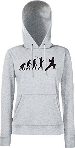 Unbekannt Krokodil Lady Kapuzensweatshirt Evolution Kampfsport Judo Karate Aikido Kung FU Jiu Jitsu, Farbe: Sportsgrey, Größe XL