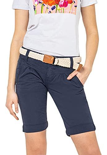 Fresh Made Damen Bermuda-Shorts in Pastellfarben mit Gürtel Dark-Blue M