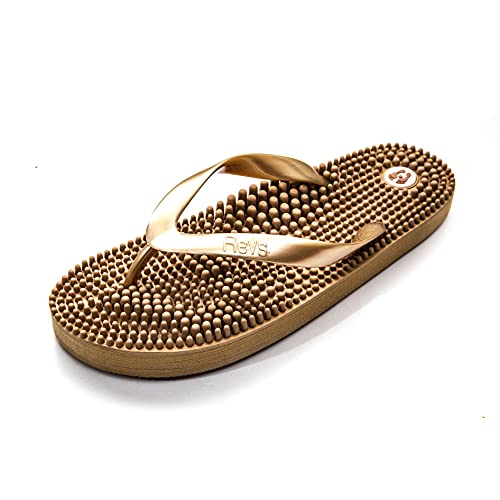 Revs Premium Massage Health Flip Flops in Metallic Gold. Reflexology & Acupressure Footbed to Stimulate Pressure Points on Your Feet for Better Circulation, Pain Relief & Recovery. Vegan