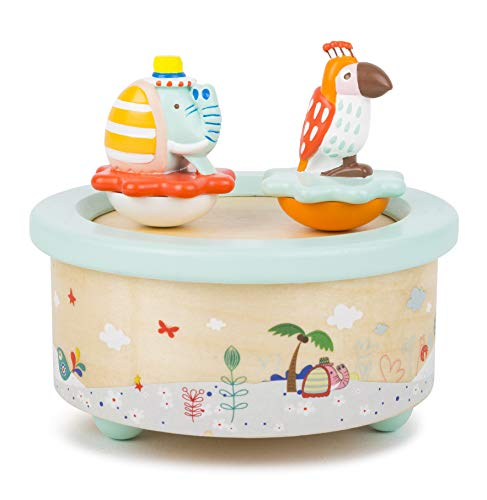 Small Foot 11108 Spieluhr Papagei und Elefant, aus Holz, in modernen Pastelfarben,mit Melodie ideal als Einschlafhilfe Spielzeug, Mehrfarbig