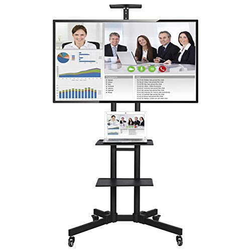 Yaheetech Portable 32 to 65 inch LCD/LED Flat Screen Mobile Rolling TV Stand Carts with Wheels TV Cart Mount