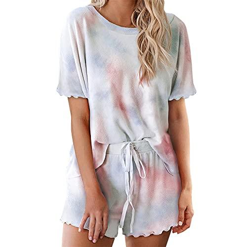 PRJN Conjuntos de Pijamas para Mujer, 2 Blusas y Pantalones de Manga Corta, Ropa de Dormir para Damas, Ropa de Dormir, Pijamas, Conjuntos de Pijamas para Mujer, Pantalones Cortos, algodón, Manga