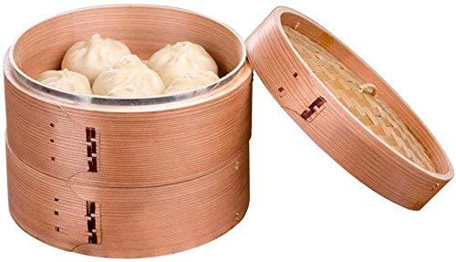 S-wang Ménage Premium Biologique Bambou à Vapeur Petit 2-Tiers avec Couvercle Chinois Ustensile de Cuisine Poisson Riz Dim Sum Panier Riz Pâtes Cuisinière Ensemble avec Couvercle 1PCS