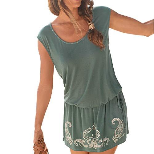 OverDose Boutique Freizeitkleider für Damen, Ärmellos Rundhals Schlüsselloch Drucken Saum Lose Einfarbig Lässig Sommerkleider Strandkleid Minikleid