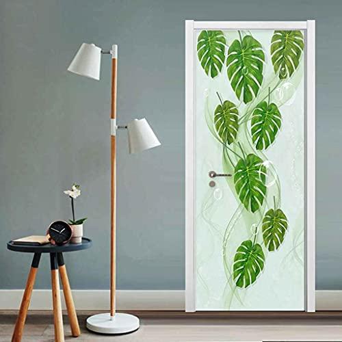 CUUDBP 3D Etiqueta De La Puerta, Planta De Hoja Verde Impermeable Extraíble Pegatinas De Pared Pintura Mural Autoadhesivos Papel Tapiz para Puertas Interiores Dormitorio Decoracion 77X200Cm