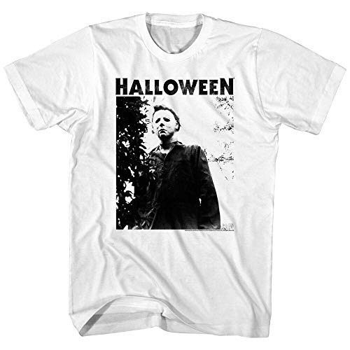 YOUQING Halloween Horror Movie Michael Myers Masked Men's T Shirt Scary Evil Villain Top White 3XL