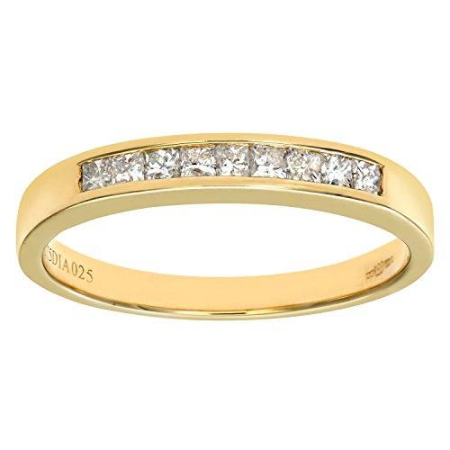 Naava Women's 9 ct Yellow Gold 0.25ct Princess Cut Diamond Channel Set Half Eternity Ring, Yellow Gold, M