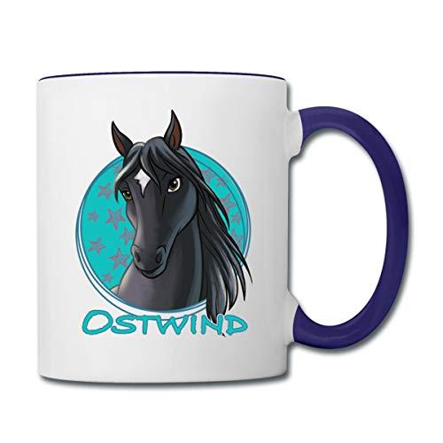 Ostwind Pferd Porträt Tasse zweifarbig, Weiß/Kobaltblau