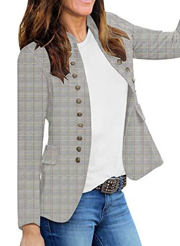 Roskiky Damen Blazer für Frauen, Cardigan, Freizeit Business Jacke, mit Taschen, Deko Knöpfe vorne Plaid Größe M (Fits EU 40-EU 42)