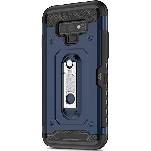KunyFond Support Mobile Carte Credit Deux en un Gel Housse Étui Armure 2 en 1 Souple Flexible Mince PC+TPU Anti-chute Etui Bumper Case Cover Couverture Coque Compatible Samsung Galaxy Note 9-Bleu