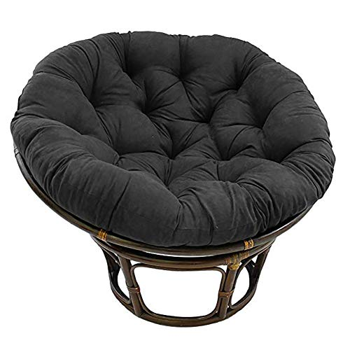 Papasan Chair Cushion,round Hanging Egg Hammock Chair Pads With Ties Quilted Design Swing Chair Cushions For Indoor Outdoor Black 90cm(35inch)
