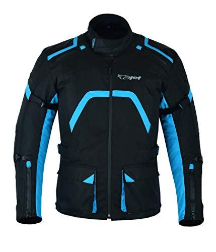 JET Chaqueta Moto Hombre Textil Ventilación con Protecciones Reflexivo Cremalleras impermeables Verano Invierno Múltiples puntos de ajuste ARMADA (XL, Azul Negro)