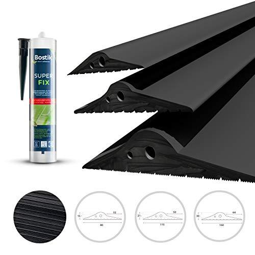 DQ-PP GARAGENTOR DICHTUNG | 1m | 15mm x 80mm | inkl. Montagekleber | schwarz | Bodenabdichtung aus EPDM | Gummidichtung | Garagendichtung | Gummischwelle | Türschwellendichtung Bodenplatte