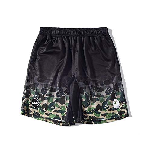 HHNN Camouflage Green Shark Shorts 100% Baumwolle Shorts Im Europäischen Und Amerikanischen Stil Fünf-Punkt-Hosen Street Trend Casual Graffiti Neutrale Shorts Sommer