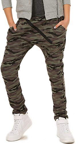 ModaFresca Mädchen Baggy Hose mit ZIP Sportshose Frühling Sommer Schule Camuflage Military Hosen 116-158 (128, Military)