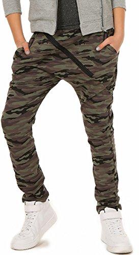 ModaFresca Mädchen Baggy Hose mit ZIP Sportshose Frühling Sommer Schule Camuflage Military Hosen 116-158 (152, Military)