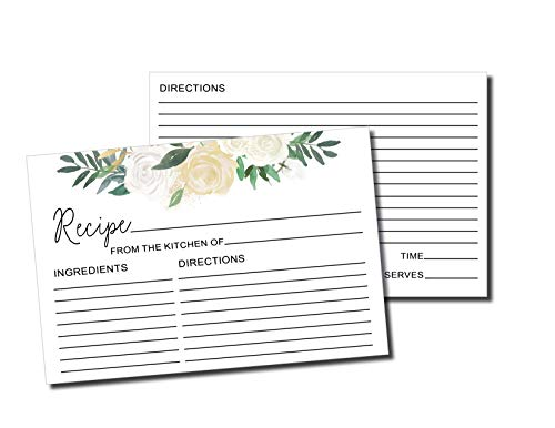 50 Recipe Cards - White Floral Rustic Double Sided 4x6, Wedding Bridal Shower Card, Blank Plain Printable Recipe Card for Binder, Vintage Retro Gift in a Mason Jar Recipe Cards 4 x 6