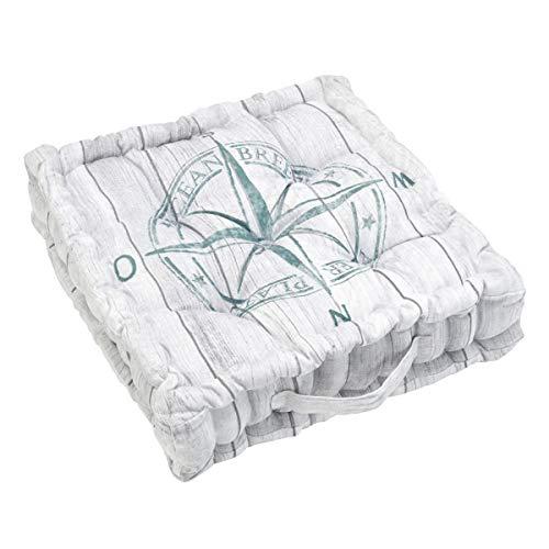 Pureday Sitzkissen Windrose - Bezug 100% Baumwolle - Maritim - ca. 40 x 40 cm