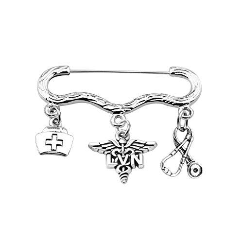FOTAP Nurse Gift Medical Caduceus Brooch Gift for RN, MA, LVN, LPN Nurse Graduation Gift (LVN pin)