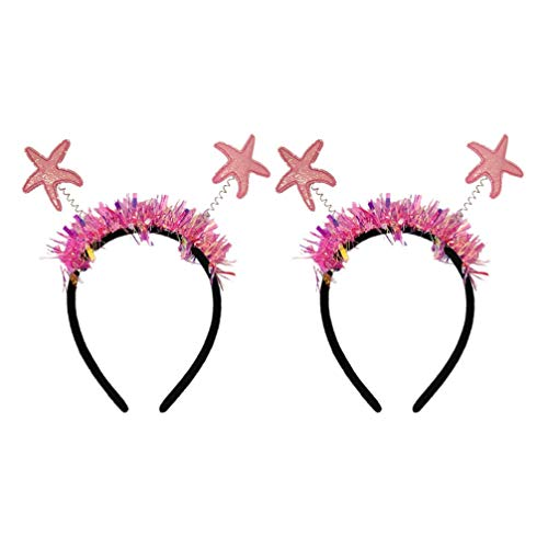TOYANDONA 2pcs Glitter Mermaid Headband Nautical Sea Star Top Headbopper Shiny Spring Hair Hoop Headdress For Kids Birthday Costume Party Favors (Pink)