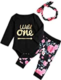 3Pcs Outfit Set Baby Girls Wild One Floral Pant Clothing Set (Black Wild one, 12-18 Months)