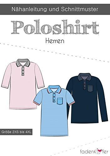 Schnittmuster Fadenkäfer Poloshirt Herren Gr. 2XS bis 4XL Papierschnittmuster