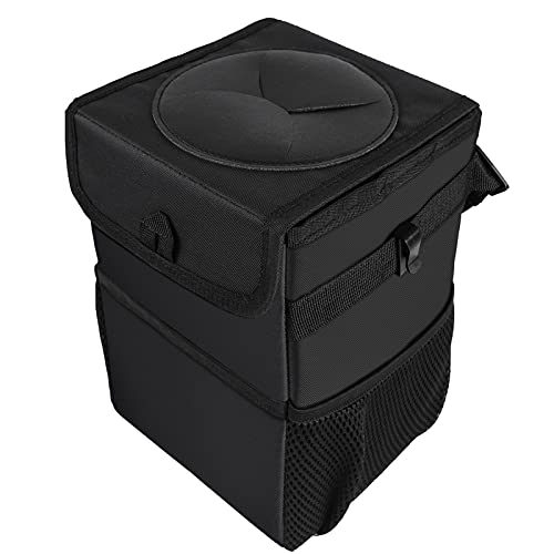 Caja de almacenamiento de coche Basura de automóviles con tapa - Bolsa de basura de automóviles colgando con bolsillos de almacenamiento Papelera de basura plegable y portátil