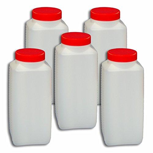 Wilai 5 x 1000 ml Plastikflasche Weithalsflasche mit Verschluss Behälter PE-Flasche lebensmittelecht ***Ideal zum Abfüllen von Kosmetikprodukten***