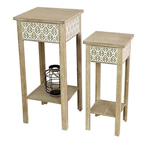 HTI-Line Beistelltische Bergen 2er Set Nachttisch Telefontisch Pflanztisch Nachtkonsole Nachtschrank Lampentisch Shabby Look 2er Set