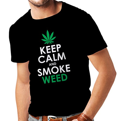 lepni.me Camisetas Hombre Mantener la Calma y Humo - Hoja de Marihuana