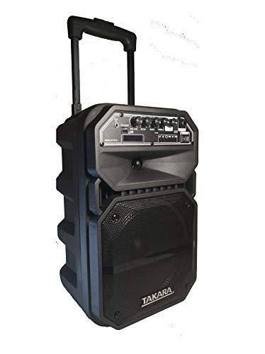 Takara Karaoke Speaker T-4008 Portable 8 Inch Trolley Speaker Multimedia Bluetooth, Karaoke with Audio Recording, USB, Rechargeable Battery PA System with Wireless Mic Outdoor Trolly Speakers