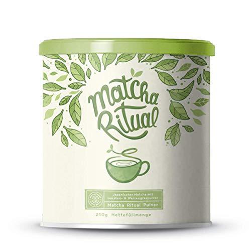 Matcha Ritual - Feinster heiliger japanischer Zeremonien-Matcha - Matcha Latte ergänzt mit Kokosmilch, Weizengras und Gerstengras - 210g Pulver