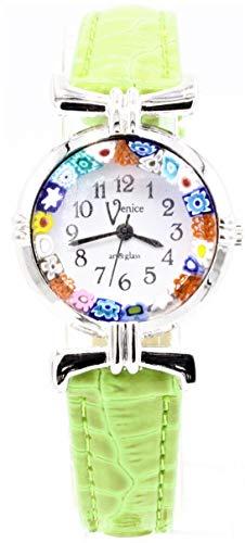 Damenuhr Murrina Veneziana Millefiori Farbe Stahl watch aus Muranoglas Verde Chiaro 18