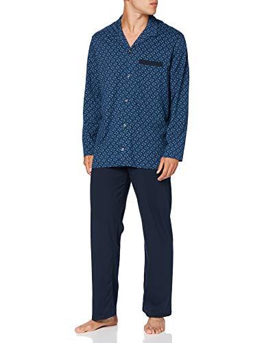 Schiesser Herren Pyjama lang\' Pyjamaset, Blau (dunkelblau), 054