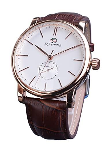 Forsining Unisex oro rosa minimalista reloj de pulsera analógico elegante marrón cuero genuino relojes mecánicos Montre Cadeau Élégant
