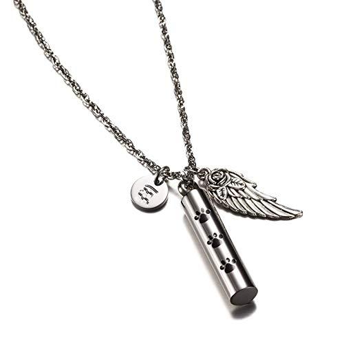 Bishilin Edelstahl Asche Kette mit Anhänger B Buchstabe Pfote Zylinder Flügel Ascheschmuck Silber Halskette Partnerketten