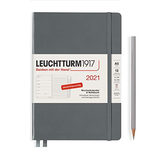 LEUCHTTURM1917 361827 Wochenkalender & Notizbuch 2021 Hardcover Medium (A5), 12 Monate, Anthrazit, Deutsch