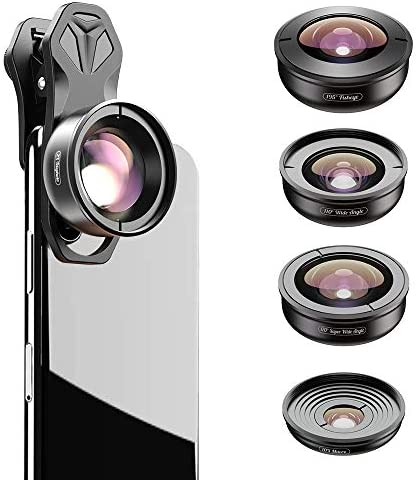 Apexel 5 in 1 Phone Camera Lens Kit 2X Telephoto Lens 195 Fisheye 110 Wide Angle 10X Marco 170 product image