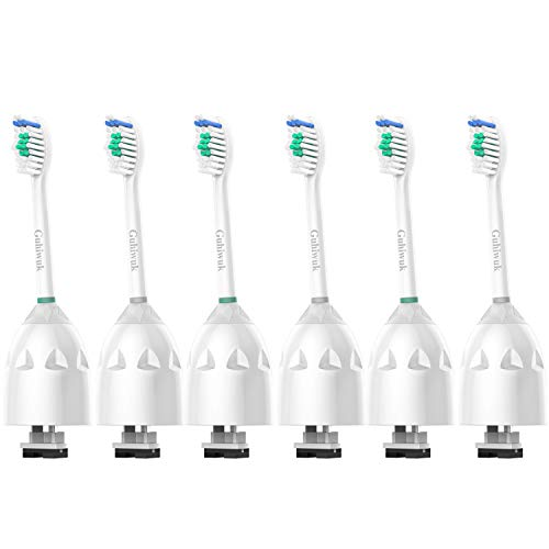 Guhiwuk Replacement brush Heads Compatible with Philips Sonicare Toothbrush E-Series HX7022, Fit Essence, Advance, CleanCare, Elite and Xtreme Electric Handles, 6 Pack