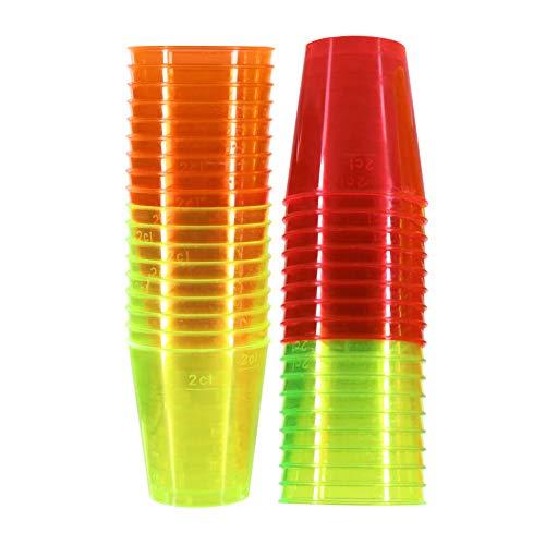 72 vasos de chupito de plástico de neón, 3 cl, 30 ml, vasos de cristal desechables para fiestas