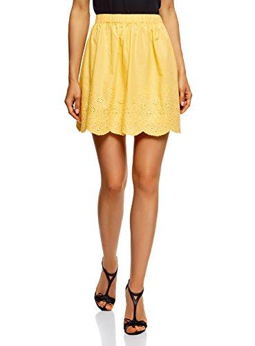 oodji Ultra Mujer Falda de Algodón con Acabado de Encaje, Amarillo, ES 34 / XXS