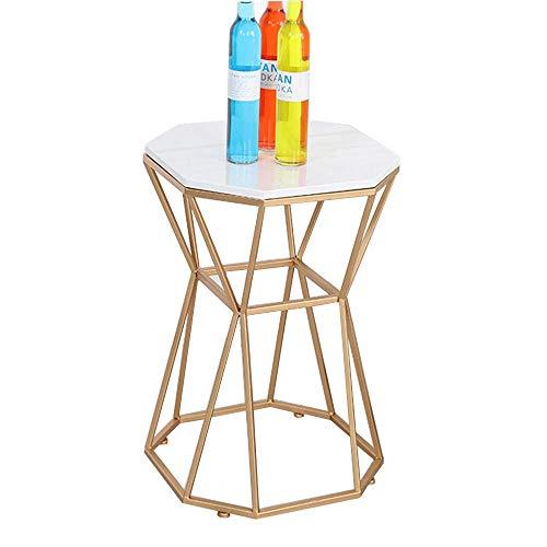 Axdwfd Table d'appoint en marbre + plateau en métal Table basse Mini canapé Salon Table de chevet de chambre à coucher, 15.7\