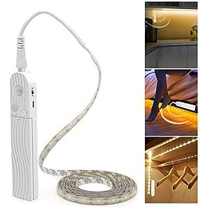 LED Under Cabinet Lighting Motion Sensor, CFGROW 10Ft Four Modes Bed Stairs Wardrobe Lamp Tape, Waterproof 5V USB LED Closet Night Strip Light(Warm White, 3M x 1Pack)