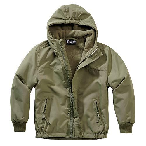 BWuM Kinder Windbreaker MIT Zipper Kids Regenjacke Windjacke GEFÜTTERT Jacke RV, Farbe:Oliv, Größe:L (146/152)
